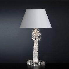Tischleuchte, Muranoglas mit Kristallbehang, Weiß silber/transparent/weiß, Blattsilber