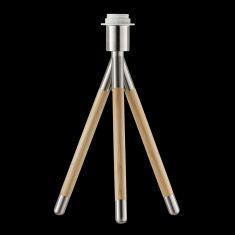 Tischleuchtenfuß Drop in Nickel-matt / Eiche Dreibein