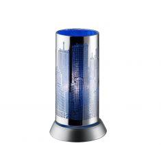 Trendige Tischleuchte in Chrom mit Skyline - blau 1x 30 Watt, blau/chrom
