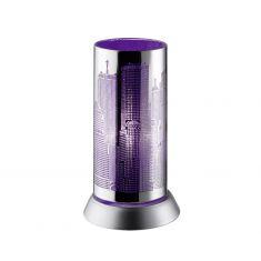 Trendige Tischleuchte in Chrom mit Skyline -  violett 1x 30 Watt, chrom/violett