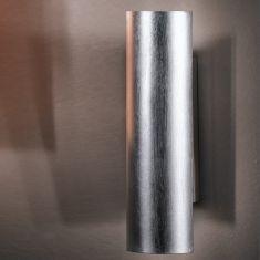 versilberte Wandleuchte schlagmetallveredelt in 25cm Höhe 2x 40 Watt, 25,00 cm