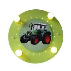 Verspielte Deckenleuchte fürs Kinderzimmer mit Traktor in grün und schwarz