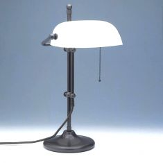 Verstellbare Bankers-Lamp in braun, Glas in 3 Farben