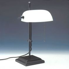 Verstellbare Bankers-Lamp in braun, Glas in 3 Farben
