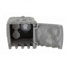 Verteilersteckdose aus Kunststoff in Steinoptik, 2 Steckdosen