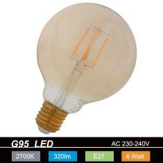 Vintage Globe LED Filament 4W bernstein. E27 2200K  320 Lm