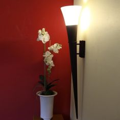 Wandfackel in schwarz-rostfarben, Höhe 80cm