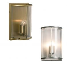 Wandleuchte 1-flammig Glas klar - Bronze oder Stahl