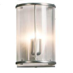 Wandleuchte 1-flammig Glas klar - Stahl 1x 60 Watt, stahlfarbig
