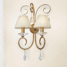 Wandleuchte 2-flg. Stofflampenschirme, Silber oder Gold Antik