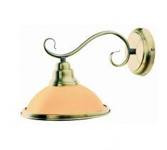 Wandleuchte in Altmessing mit Glasschirm in Amber - inklusive Leuchtmittel E27 60Watt