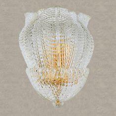 Wandleuchte aus Glas - 2 Größen, Gold 24 K oder Chrom - Strukturglas transparent