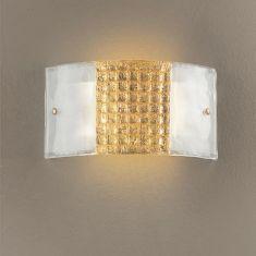 Wandleuchte aus hochwertigem Glas - Golddekoration -  L32 cm H 17 cm 17,00 cm, 32,00 cm, 8,00 cm