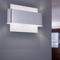 Wandleuchte aus Stahl in Chrom und Weiß, G9 2x 33W Leuchtmittel inklusive