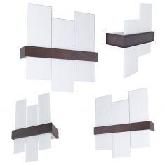 Wandleuchte aus wengèfarbenem Holz mit weißem Glas