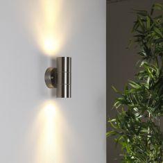 Wandleuchte Edelstahl mit Lichteffekt, 2 x Power LED 3x1