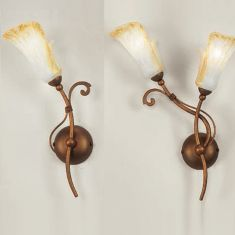 Wandleuchte im Florentiner Stil - 1- oder 2-flammig - Metall bronzefarbig -  Scavoglas mit Golddekoration