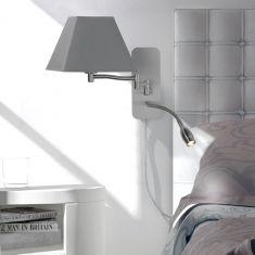 Wandleuchte Hotel mit LED-Leselicht, Schirm eckig 3 Farben