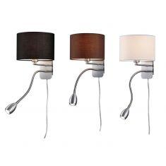 Wandleuchte Hotel mit LED-Leselicht, Schirm 3 Farben