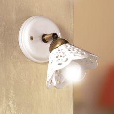 Wandleuchte im Landhausstil - Keramik-Lampenschirm - Messingfarbig - 1-flammig