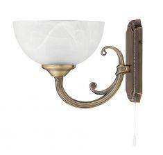 Wandleuchte Marlene 1flammig mit  Zugschalter und weißem Alabasterglas