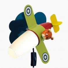 Wandleuchte mit buntem Flugzeug , Spot beweglich, 1-flammig