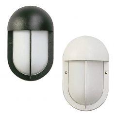 Wandleuchte oval in schwarz oder weiß, Opalglas