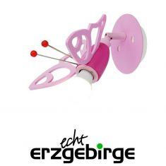 Wandleuchte rosa Falter für Mädchen-Kinderzimmer