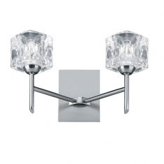 Wandleuchte in Silber-satiniert mit Gläsern in Eiswürfeloptik 2-flammig