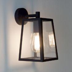 Wandleuchte, Ausführung Schwarz mit Klarglas 1x 60 Watt, schwarz