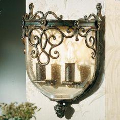 Wandleuchte-hochwertige Schmiedekunst - Blasglas