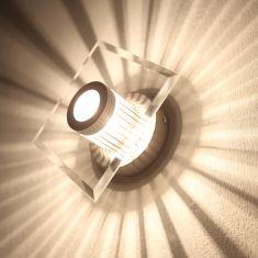 Wand- oder Deckenleuchte mit tollem Lichteffekt, Glas eckig, inklusive Leuchtmittel