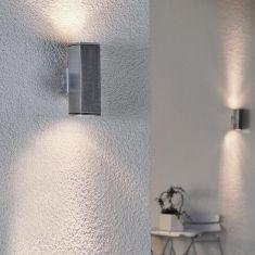 Wandstrahler aus Aluminium, Beleuchtung für den Außenbereich als up and down