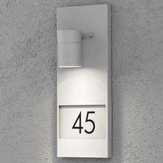 Wandstrahler mit Hausnummern zum Bekleben, alufarbend-hellgrau Aluminium, hellgrau