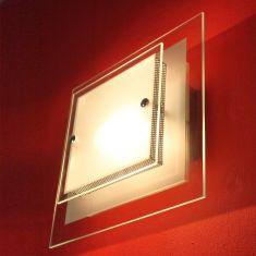 Wand- und Deckenleuchte mit teilsatinierten Glasplatten, inklusive Leuchtmittel