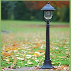 Wegeleuchte in Schwarz - klassische Form - Höhe 112cm 1x 60 Watt, schwarz, 112,00 cm, 15,50 cm, 24,70 cm, 24,50 cm