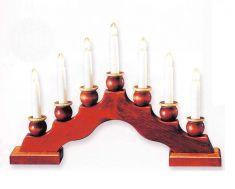 Weihnachtsbeleuchtung, Holz-Leuchter mit Holzhülsen und 7 Topkerzen 34V/3W, mahagoni