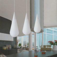 Weiße Pendelleuchte in Tropfenform, mit 3 x 5W LED E27