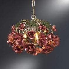 Wunderschöne Pendelleuchte - Handarbeit aus Italien - Rosendekor - 3-flammig