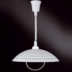Zugpendel mit Spiralkabel,  Glas mit Dekor Ringe