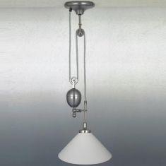 Zugpendelleuchte in nickel-matt mit weißem Glas