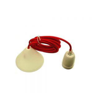 Lampenfassung E27 Porzellan-Fassung, mit rotem Textilkabel