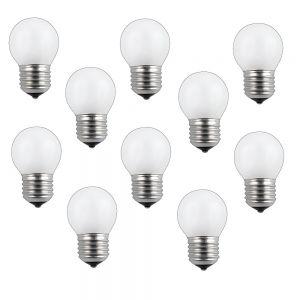 LHG 10er Set E27 Glühlampe Tropfen 60 Watt opal weiß