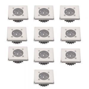 10er Set LED Solar-Bodeneinbauleuchte für Außen, eckig, Edelstahl, trittfest, IP44 spritzwasser geschützt, 8h, Einbaustrahler