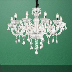 10flammige Krone aus Glas und Kristallbehang, 10-flammig