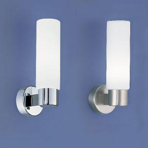 1-flammige Wandleuchte für das Bad in Chrom oder Nickel-matt mit mattem Opalglas - Höhe 25cm - IP40