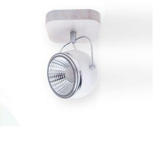 1flammiger LED Strahler Ball Wood Chrom/Weiß, Eiche/Weiß