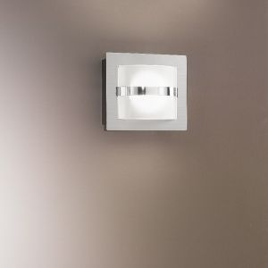 1-flg. LED-Wandleuchte quadratisch, Nickel mit weißem Glas