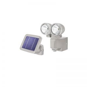2er-LED-Solar-Strahler mit 90° Bewegungsmelder in Grau