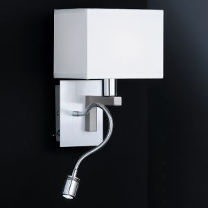 2-flammige Wandleuchte, eckiger Schirm, biegsamer LED-Leuchtarm